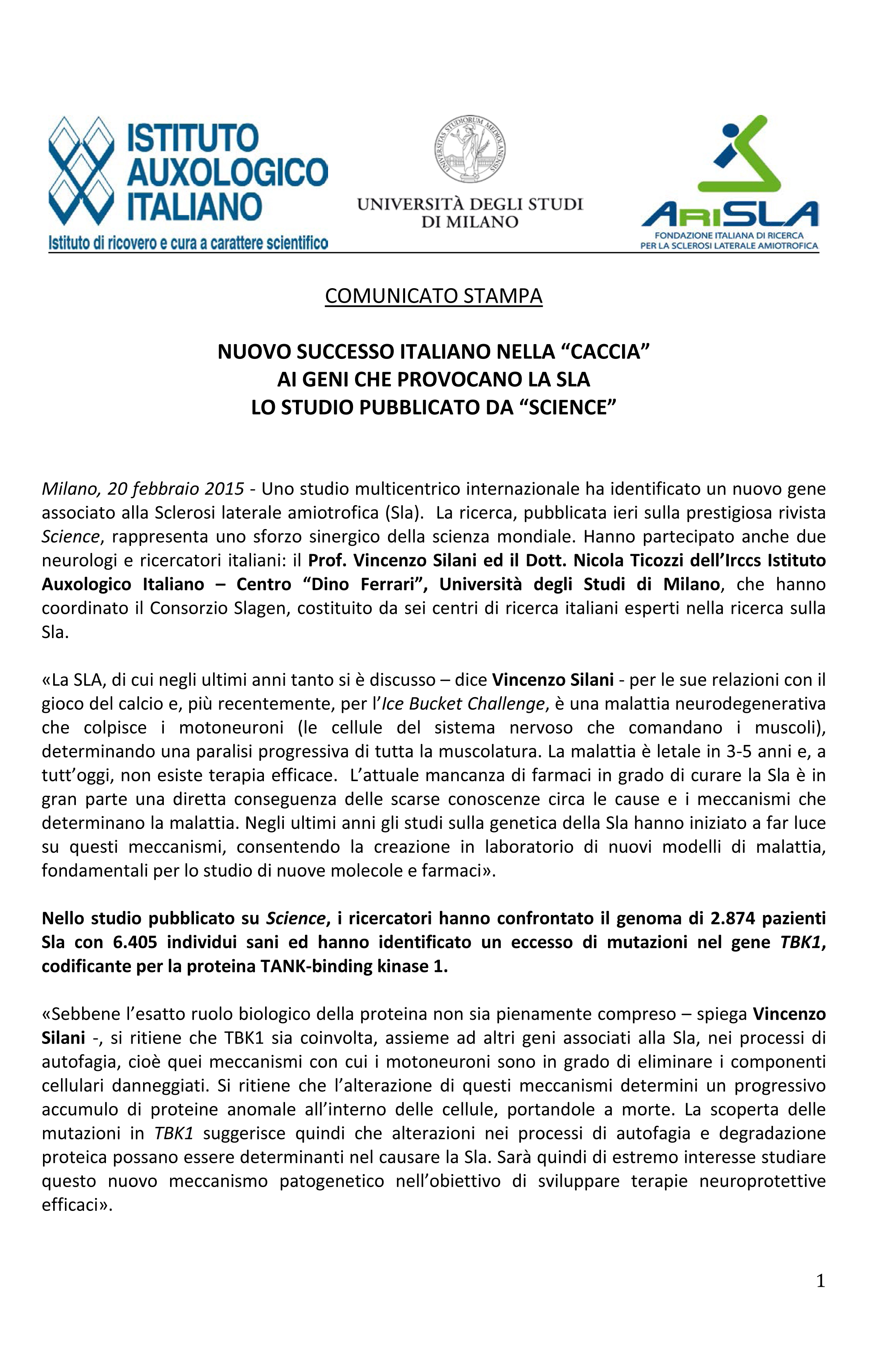 """Nuovo successo italiano nella """"caccia"""" ai geni che provocano la"""