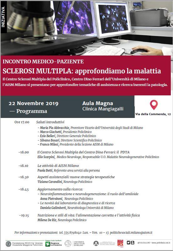 Evento Sclerosi Multipla 22 novembre